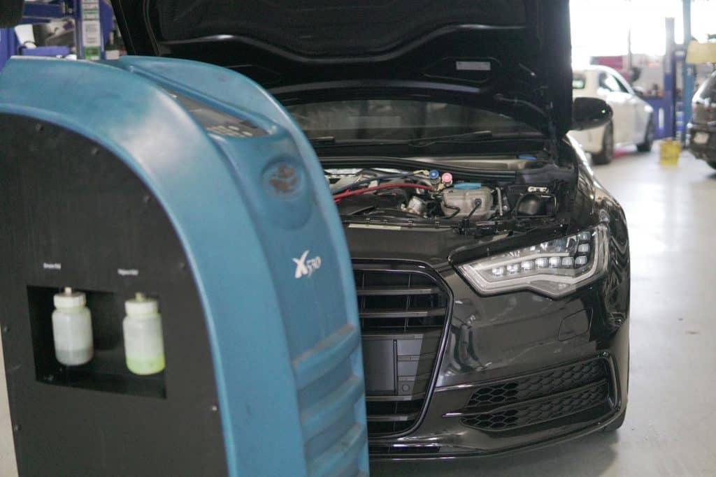 Audi AC refill and air conditioning testing
